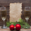 Christmas decoration and old paper — Stock Photo #4421467