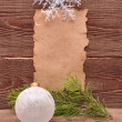 Christmas decoration and old paper — Stock Photo #4421473