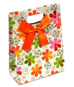 Gift paper bag with bow — Stock Photo