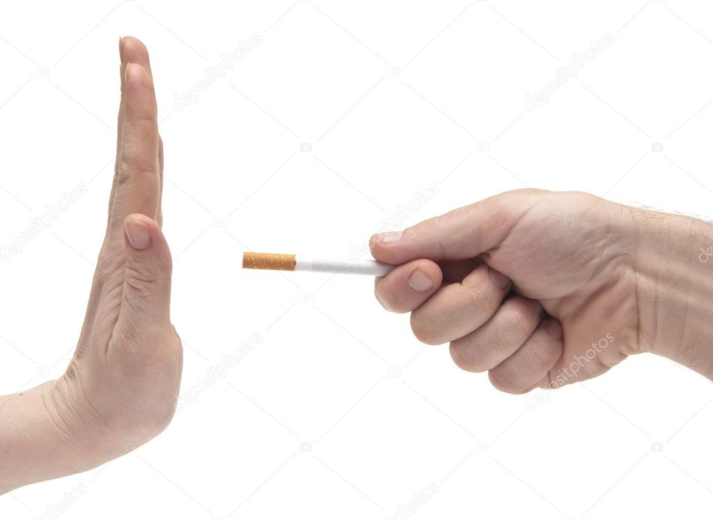 Non smoking woman saying his partner to stop smoking  — Stock Photo #4497136