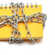 Notebook with a chain — Stok fotoğraf