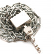 Lock and chain on white background — Stock Photo