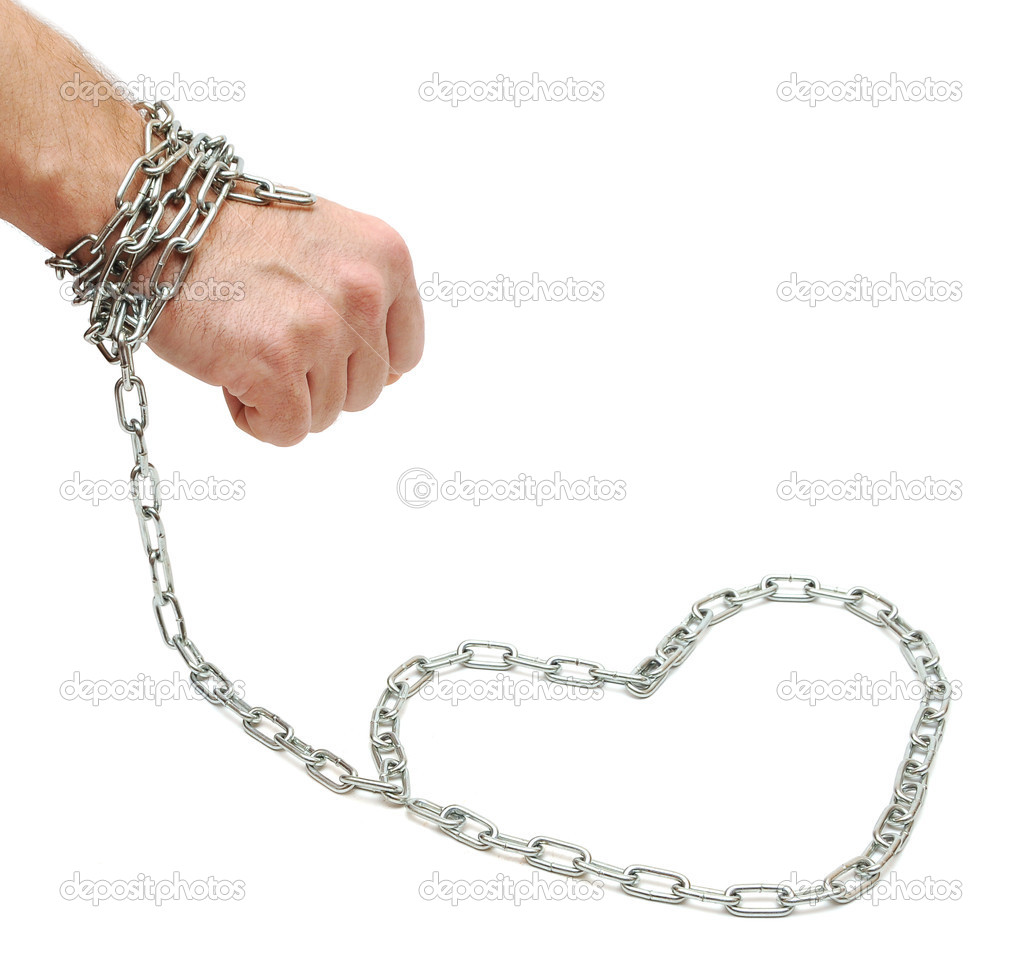Hand chained to heart on white background — Stock Photo #4528558
