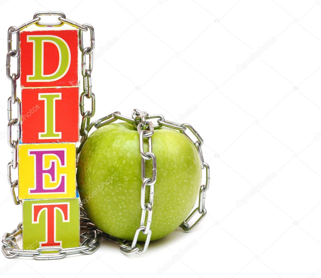 Green apple and cubes with letters - diet, associated chain — Stock Photo #4528660