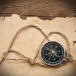 Foto Stock: Compass, rope and old paper on border wood background