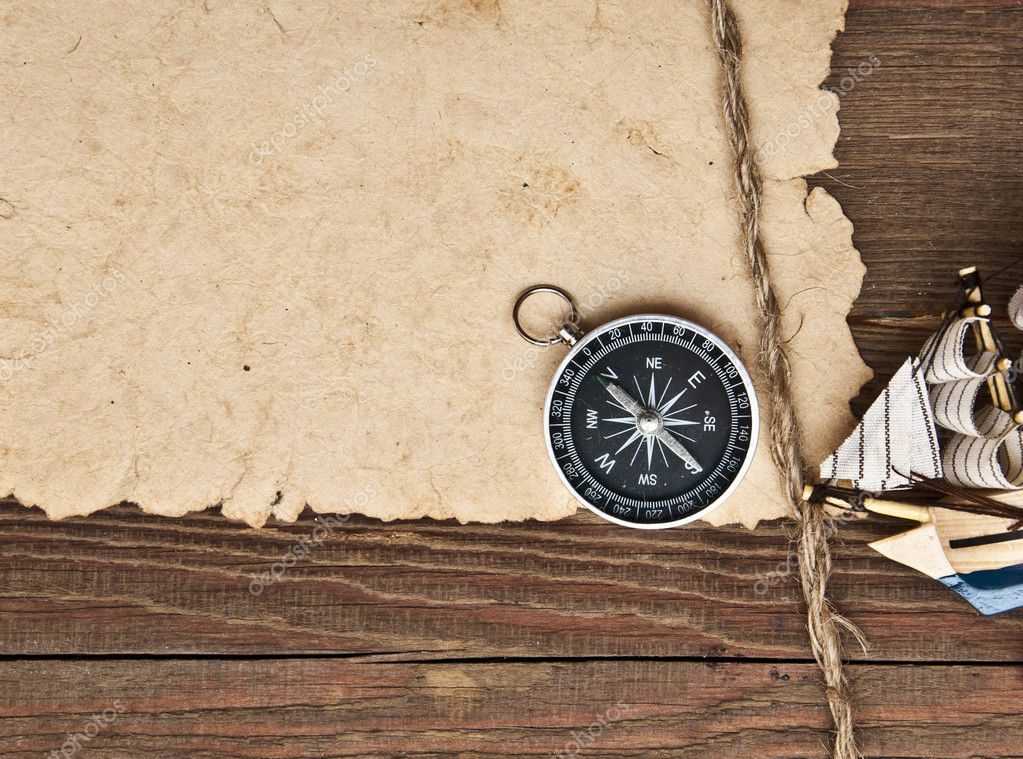 Old paper, rope and model classic boat on wood background — Stock ...