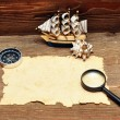 Model classic boat, compass and rope on wood background — Stock Photo