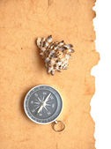 Compass and seashell — Stock Photo