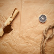 Scroll with wax seal and rope — Stock Photo