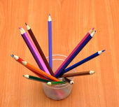 Color pencils in glass — Stock Photo