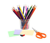Stationery materials on a white background — Stock Photo