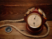 Decorative termometer, and compass — Stock Photo