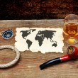 Old paper, pipe and glass of cognac — Stock Photo #4872811