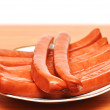 Close up plate of sausages — Stock Photo #4873347