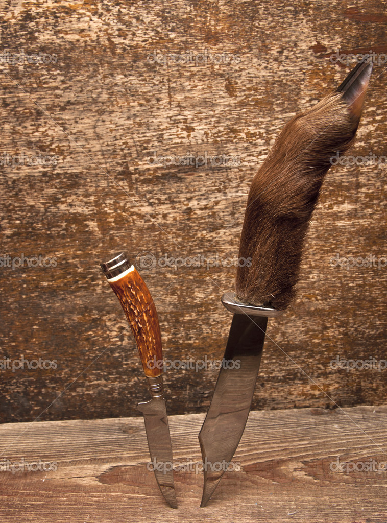 Two hunting knifes on wood background  Stock Photo #4871855