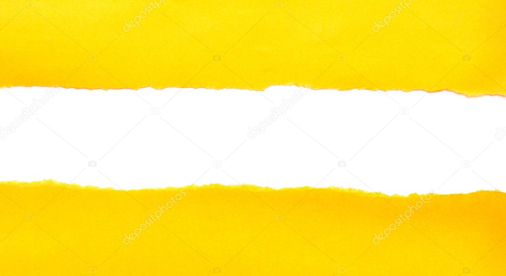 Yellow torn paper on white background  — Stock Photo #4871977