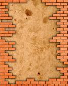 Marco grunge de la pared de ladrillo — Foto de Stock