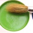 Watercolors and brush close view — Stock Photo