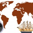 Compass and model classic boat — Stock Photo