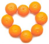 Heart shaped tangerins — Stock Photo