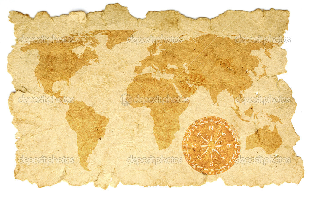 World map with compass on old paper — Stock Photo #5264100