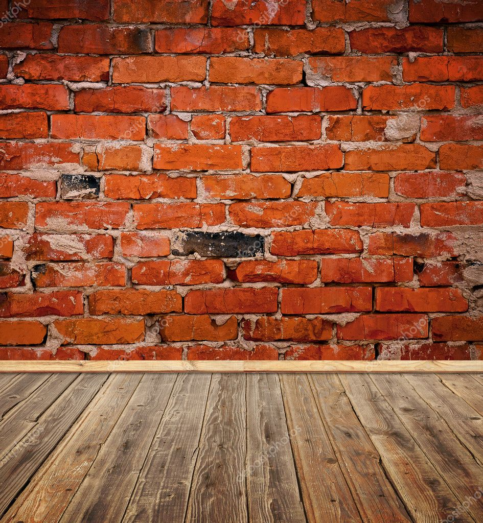 Old room with brick wall and wood floor  Stock Photo #5305627
