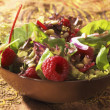 Salade with rasberry's — Stock Photo