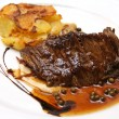 French steak with mashed potatoes and pepper - Stock Photo