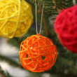 Stock Photo: Colorful decorative wooden balls on Christmas tree