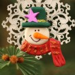 Stock Photo: Snowman and Christmas tree