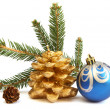 Isolated golden pine cone and blue Christmas ball — Stock Photo