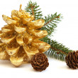 Stock Photo: Golden pine cone and branch of Christmas tree