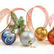 Ribbon and Christmas Balls — Stock Photo