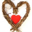 Red heart inside wooden heart — Stock Photo #4856171