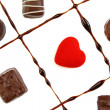 Stock Photo: Chocolates and red heart