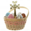Easter cross and eggs — Stock Photo