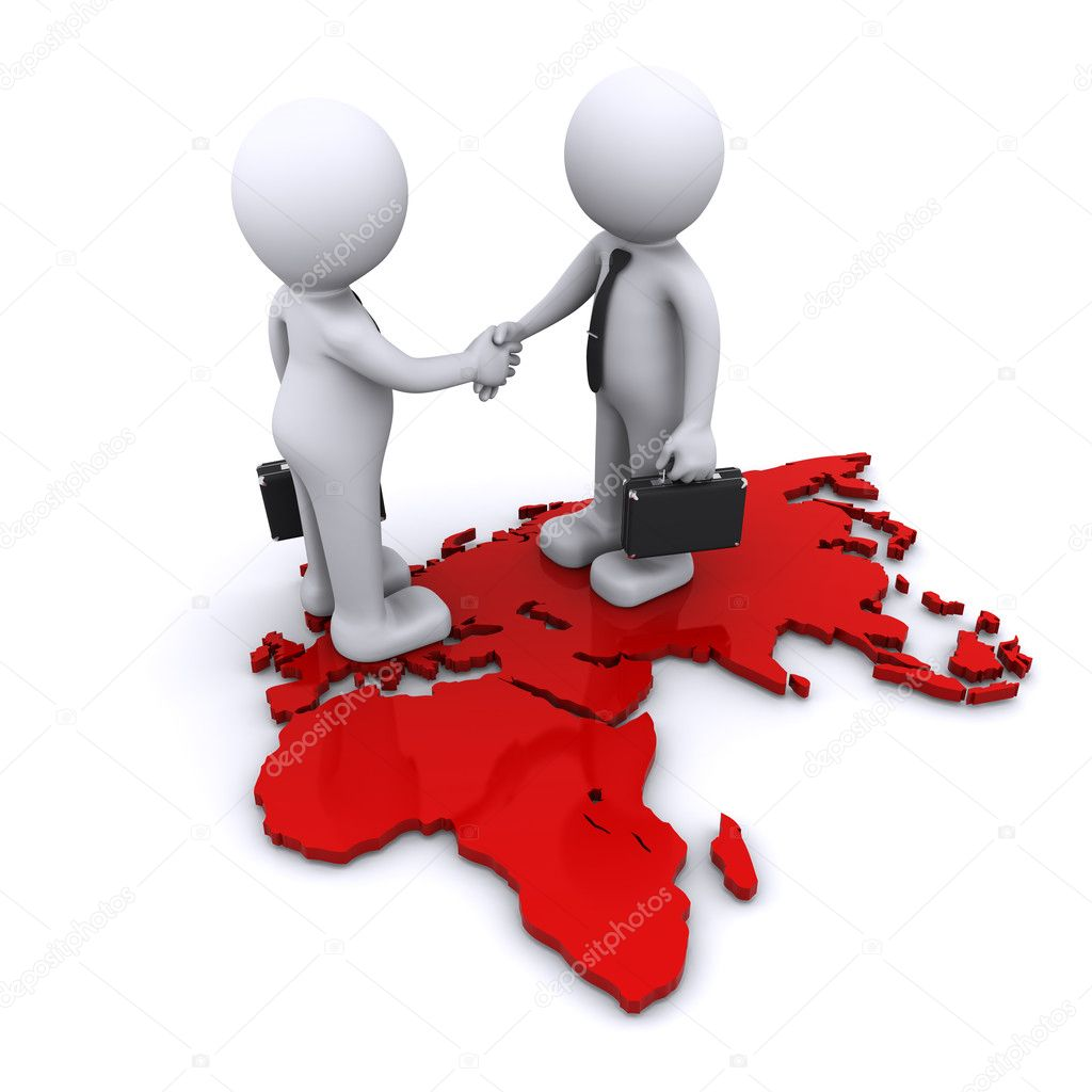 Two businesmen standding on world map — Stock Photo #4147354