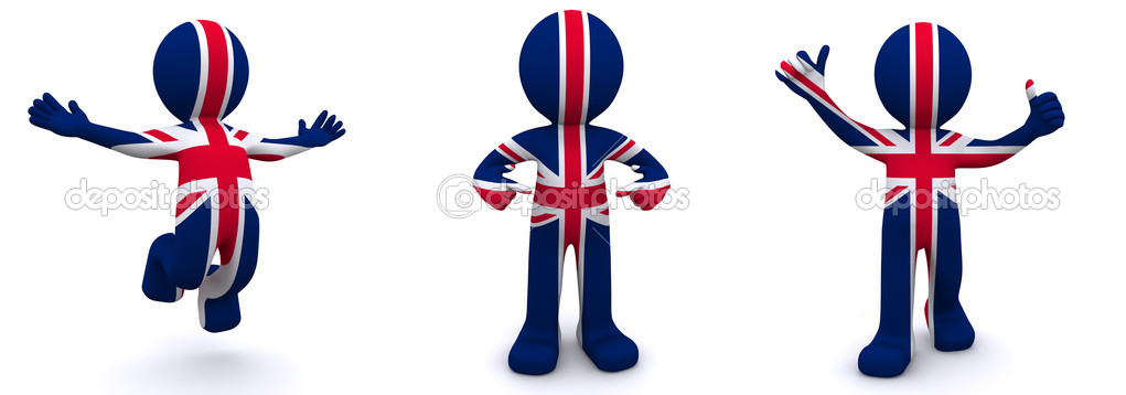 3d character textured with flag of UK isolated on white background — Stock Photo #4270766
