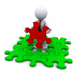 Man with missing piece of puzzle — Stock Photo