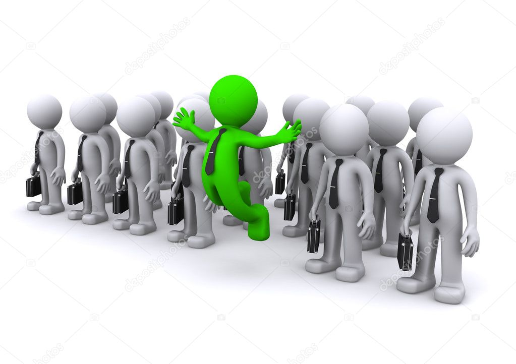 Uniqe 3d character standing out from the crowd  — Stock Photo #4423403
