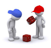 3d characters playing dice — Stock Photo