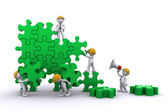 Business team work building a puzzle. Buuilding business concept. — Stock Photo