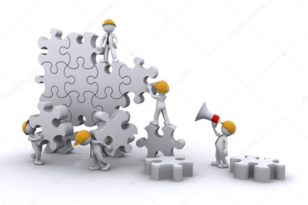 Business team work building a puzzle. Business developing concept. Isolated  Stock Photo #4519309