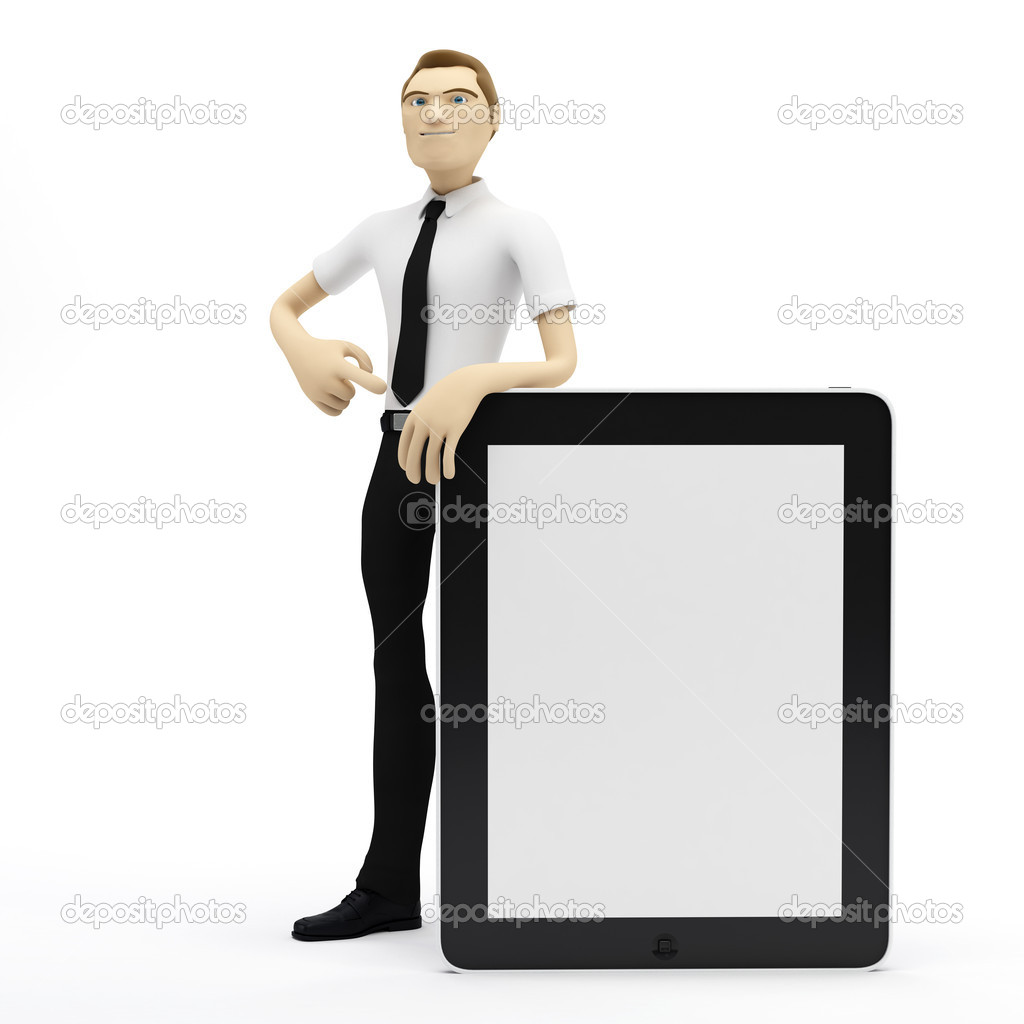 3D Businessman with blank tablet pc. Advertising concept — ストック写真 #4927653