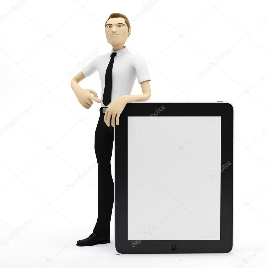 3D Businessman with blank tablet pc. Advertising concept — Zdjęcie stockowe #4927653