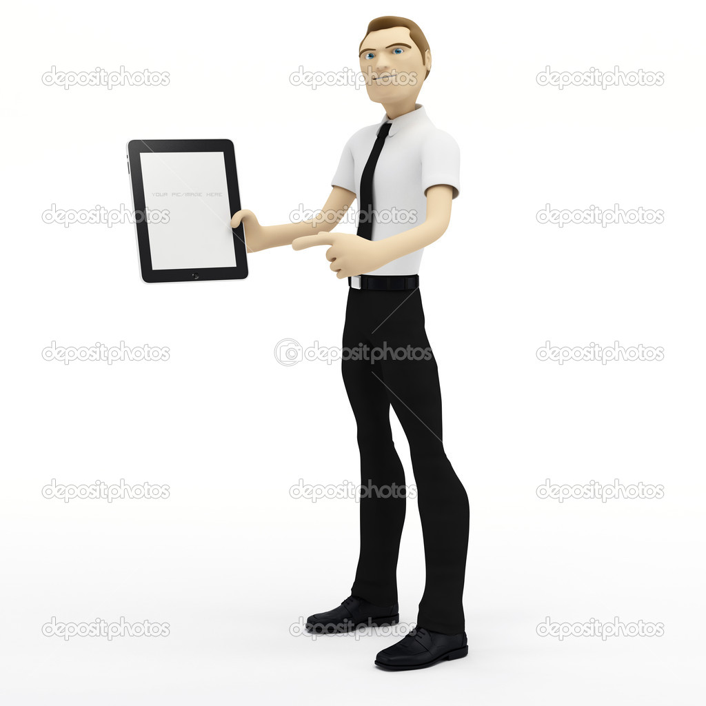 3D Businessman holding blank tablet pc. Advertising concept — Stock Photo #4927789