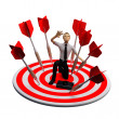 Businassman standing on the archery board. Conceptual business illustration — Stock Photo