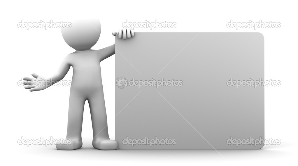3D character holding a blank billboard. Isolated  Stock Photo #5354371
