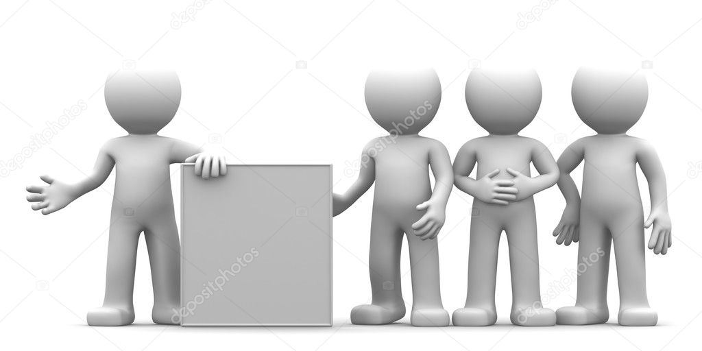 3D character showing blank banner to the goup of . isolated  Stock Photo #5354493
