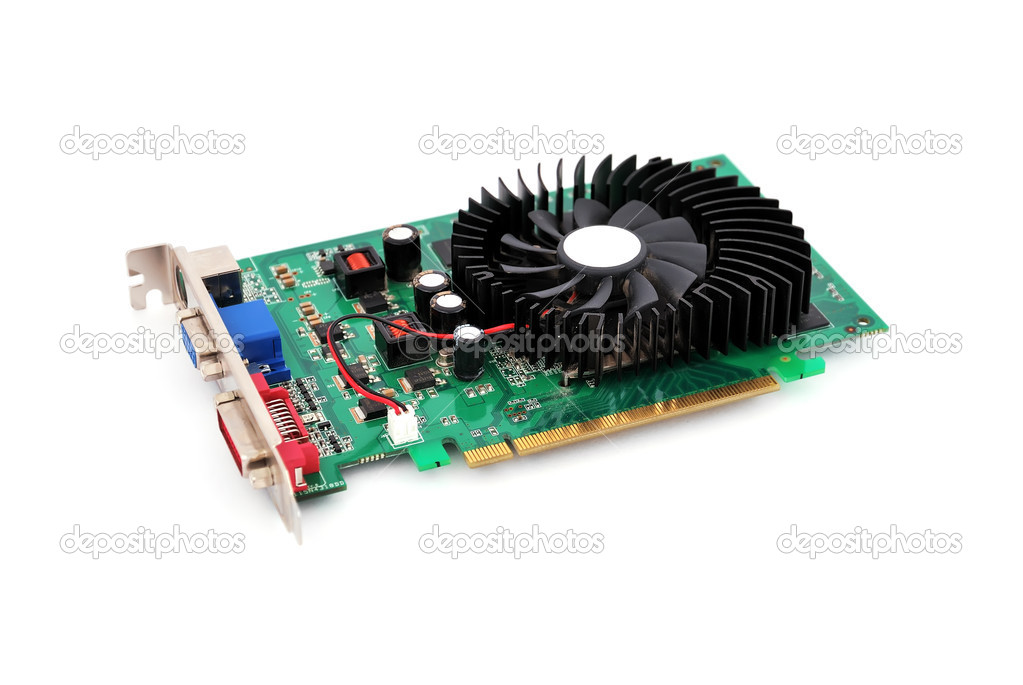 Video card with three outputs on a white background — Stock Photo #4652860